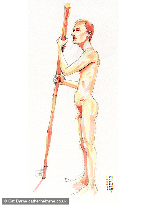 steve 1 - watercolor life drawing by cat byrne