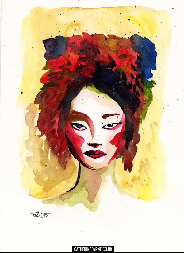 Headdress watercolor by Cat Byrne