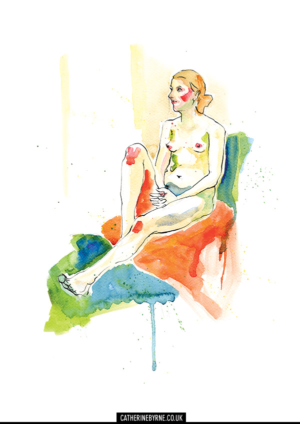 Lisa 7 life drawing female nude watercolour ink art by Cat Byrne