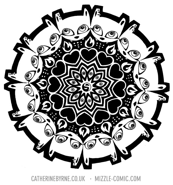 mizzledala cat mandala in ink by Cat Byrne