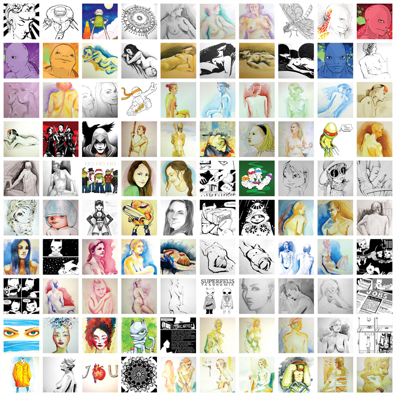 1000 drawings by Cat Byrne 1 to 100