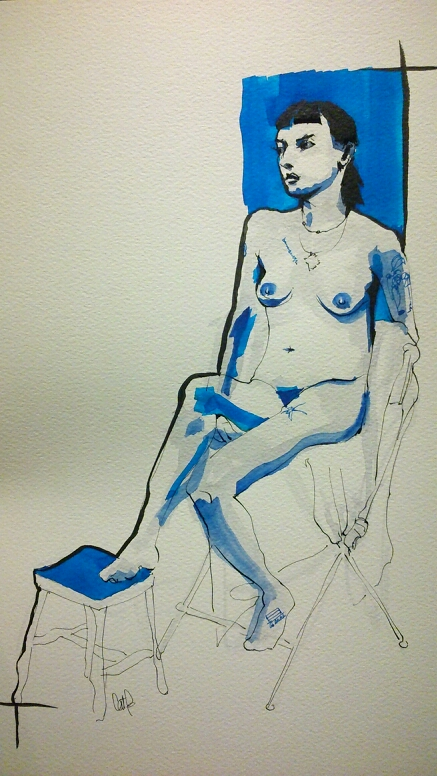 Anita 7 watercolor life figure drawing by Cat Byrne