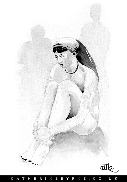 Anita 13 watercolour figure drawing by Cat Byrne Todmorden artist