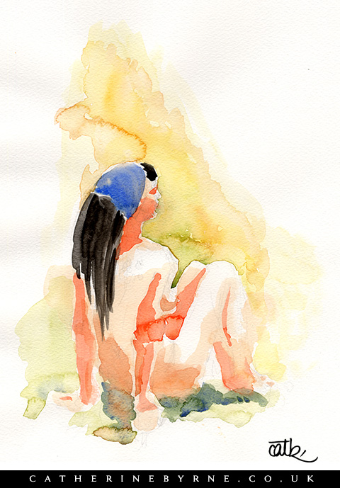 Anita 12 watercolour life drawing by Cat Byrne Todmorden artist