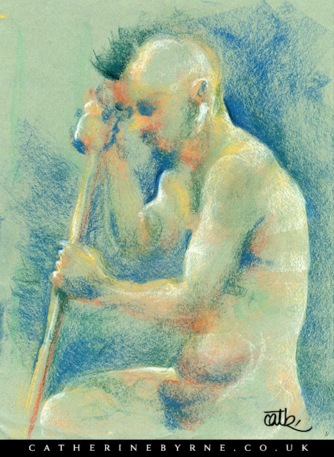 James 4 pastel life drawing by Todmorden artist Cat Byrne