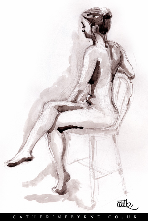 Tasha 5 watercolour life drawing by Cat Byrne Todmorden