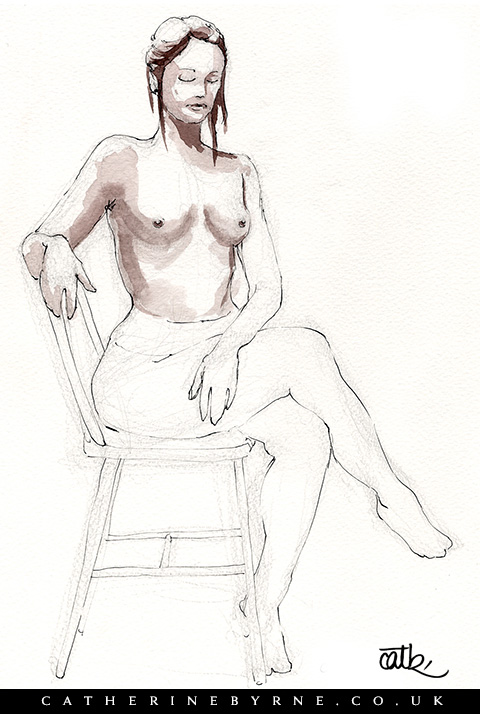 Tasha 6 - unfinished - watercolor figure drawing by Cat Byrne artist in Todmorden
