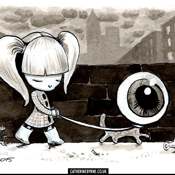 Puppy love girl walking eyeball original art by Cat Byrne