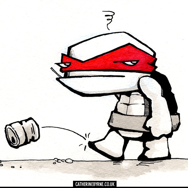 Grumpy Raph TMNT original art by Cat Byrne
