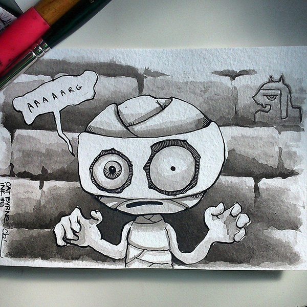 Chibi mummy monster by Cat Byrne for Inktober