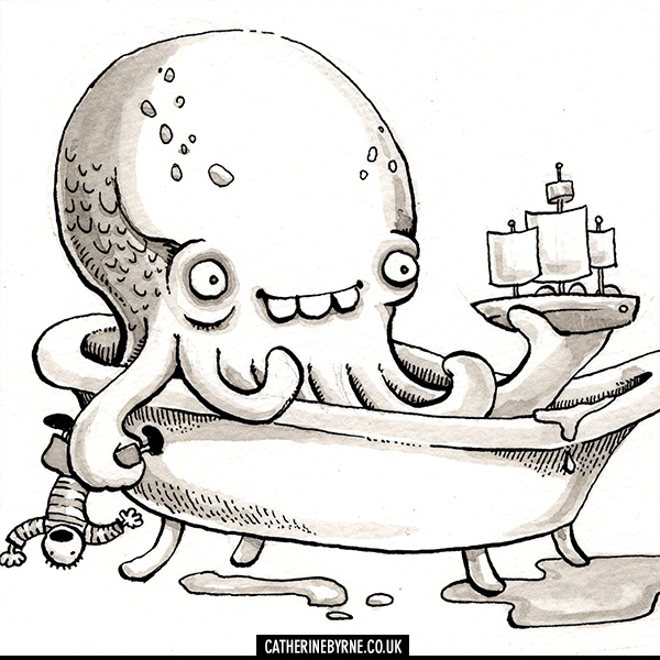 Baby Cthulhu in the bath by Cat Byrne