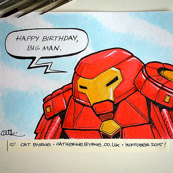Hulkbuster birthday card by Cat Byrne Inktober 2015