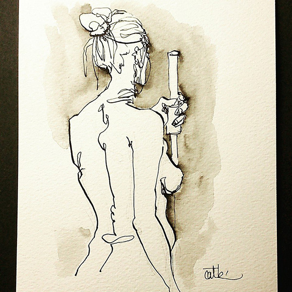 Ola 1 life drawing by Cat Byrne in Todmorden