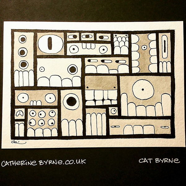 Inktober 27 faces by Cat Byrne