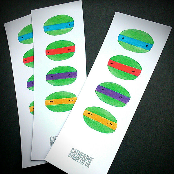 four cuties bookmarks tmnt by Cat Byrne
