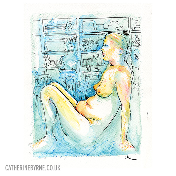 Christina 21 life drawing by Cat Byrne in Todmorden