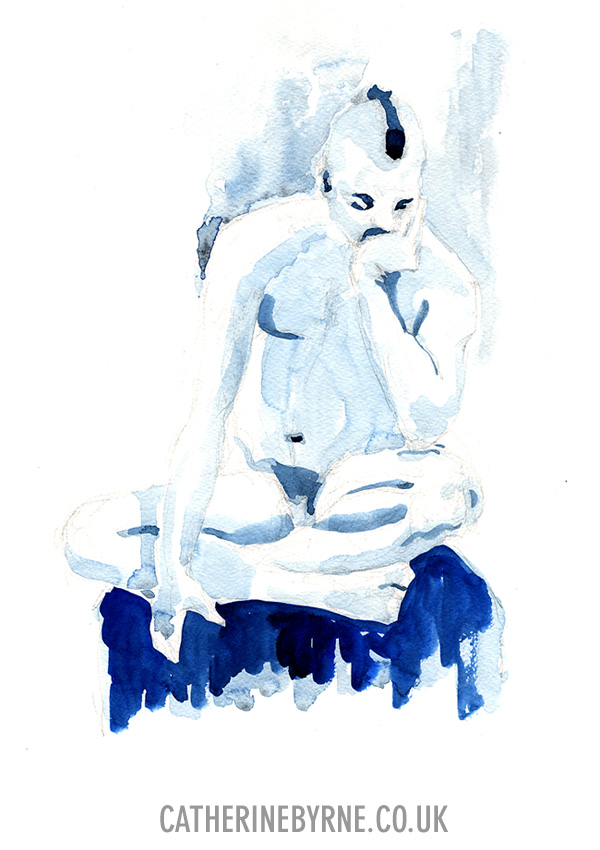 James 8 watercolor figure drawing by Cat Byrne