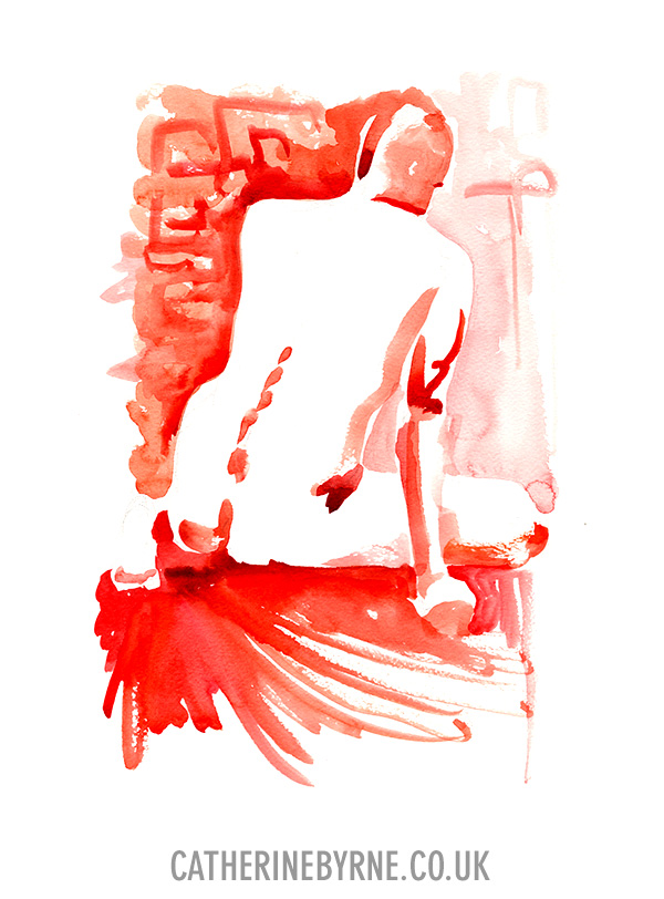 James 9 watercolour life drawing by Cat Byrne