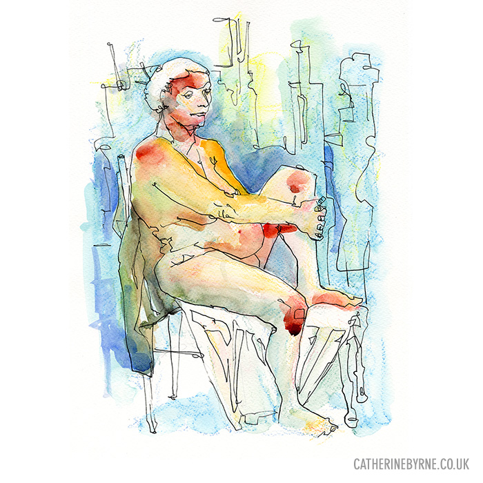 Lesley 14  watercolour mixed media life drawing by Cat Byrne