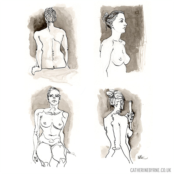 Ola 1-4 figure drawing by Cat Byrne