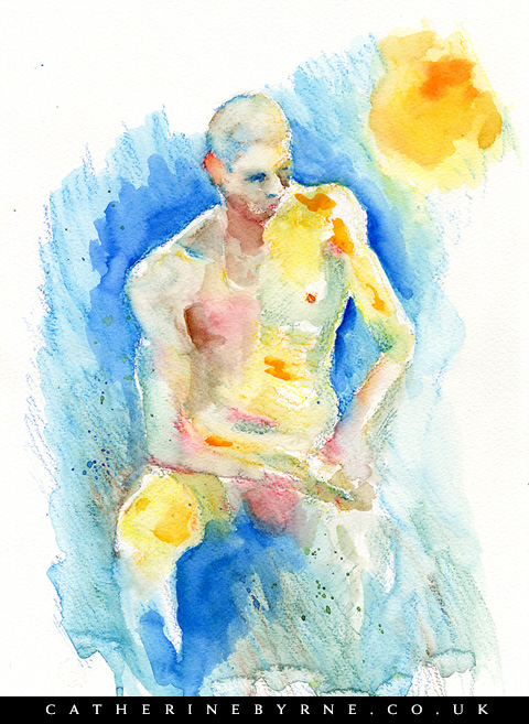 Robin 14 - neocolor 2 watercolor figure drawing by Cat Byrne
