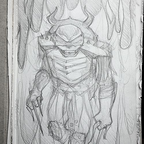 Step 1 - pencil sketch by Cat Byrne