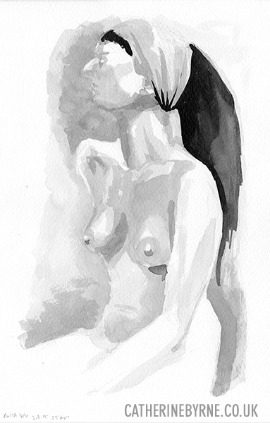 Anita 22 - ink wash figure drawing by Cat Byrne in Todmorden