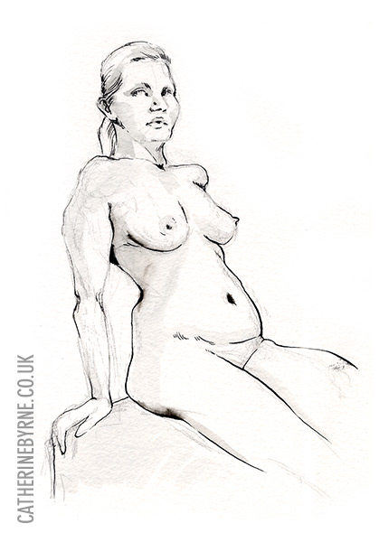 Christina 25 life drawing by Cat Byrne