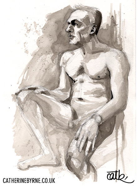 Dave III 1 - ink life drawing by Cat Byrne