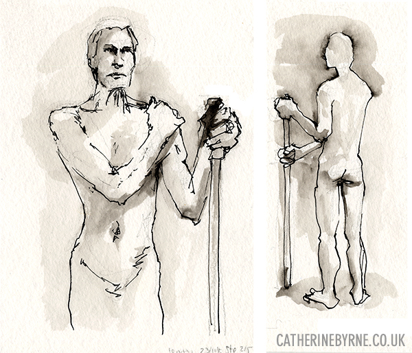 Steve 9 and 10 life drawing by Cat Byrne in Todmorden