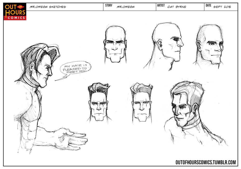 Mr Omega sketches by Cat Byrne for Out of Hours Comics