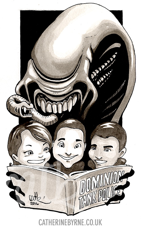Alien bedtime story commission by Cat Byrne