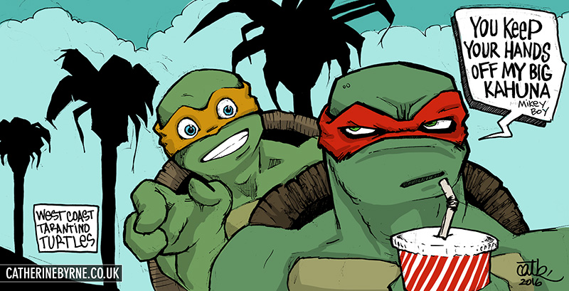 Mikey and Raph - Big Kahuna burger West Coast Tarantino style by Cat Byrne