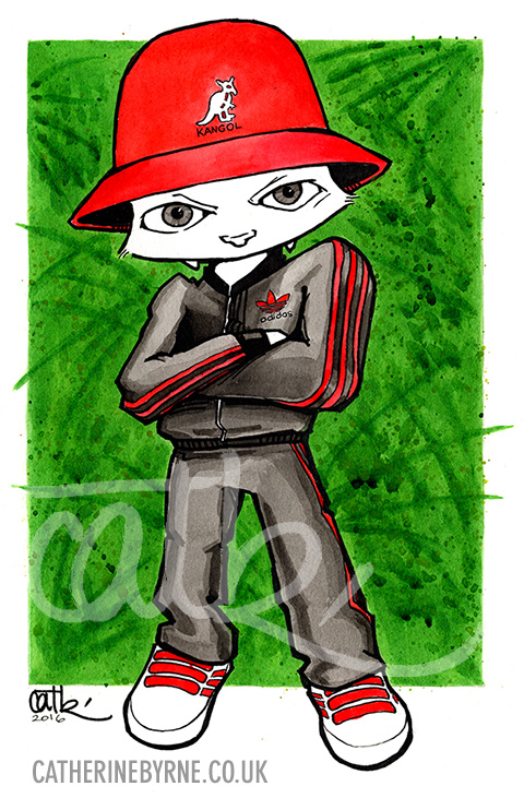 Cat in a Kangol hat commission by Cat Byrne