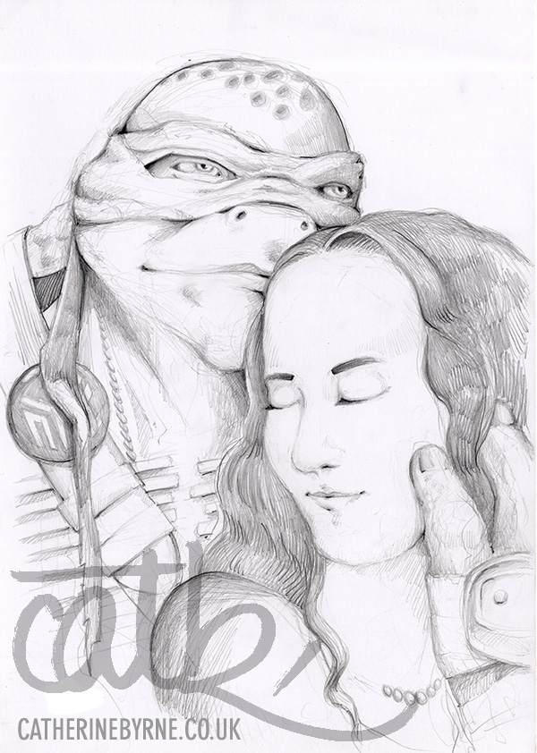 2014 tmnt leo commission - pencil drawing by Cat Byrne