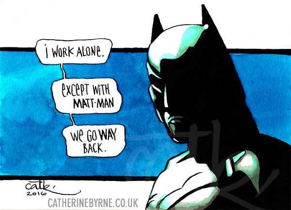 Batman says get well soon, Matt Man by Cat Byrne