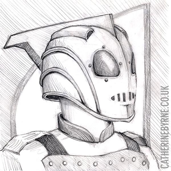 Rocketeer pencil sketch by Cat Byrne