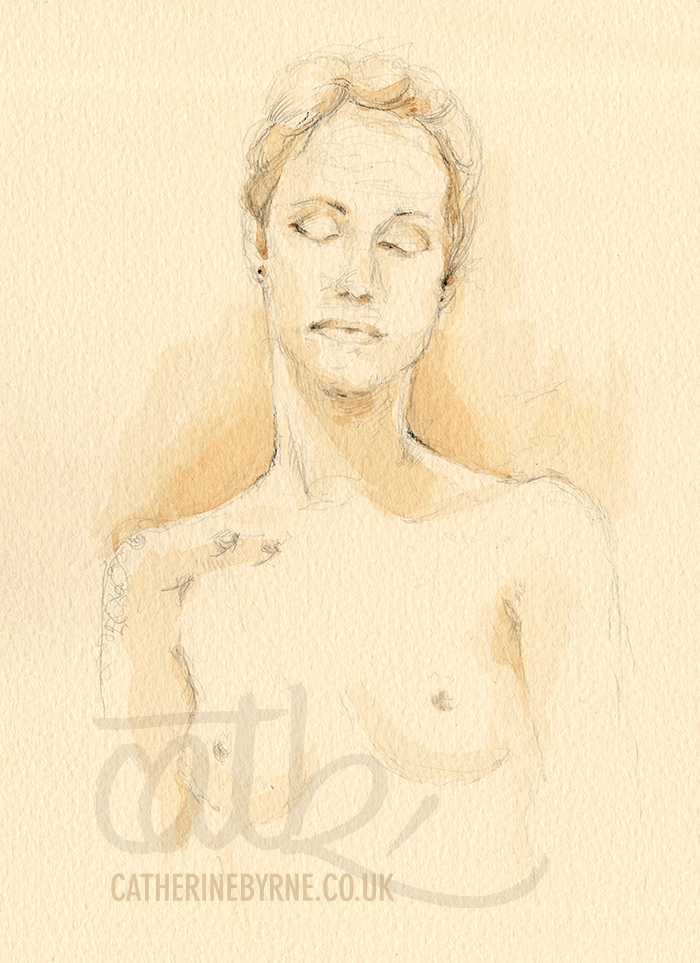 Tasha 10 watercolour pencil life drawing by Cat Byrne in Todmorden