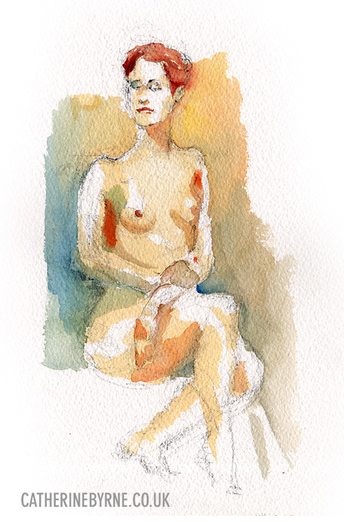 Tasha 9 life drawing Todmorden by Cat Byrne watercolour