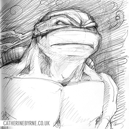raph looking up sketch by Cat Byrne