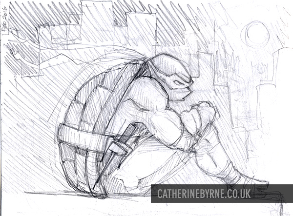 Raph on rooftop sketch by Cat Byrne