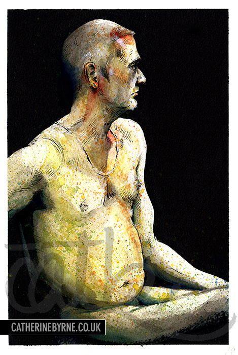 Robin 26 - mixed media life drawing by Cat Byrne in Todmorden