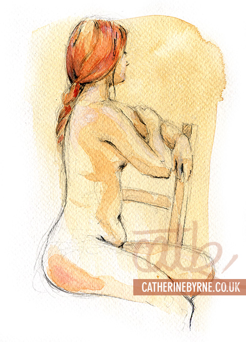 Tasha 11 watercololur life drawing by Cat Byrne in Todmorden