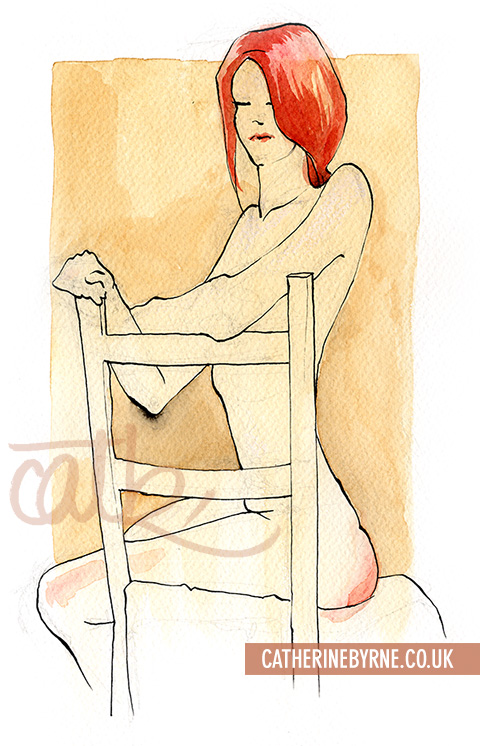 Tasha 12 watercolour life drawing by Cat Byrne in Todmorden