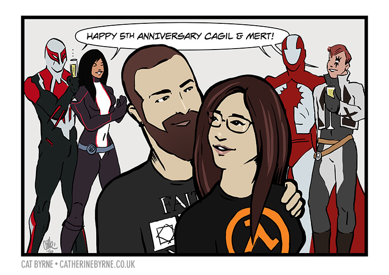 Mert and Cagil anniversary comic portrait commission by Cat Byrne