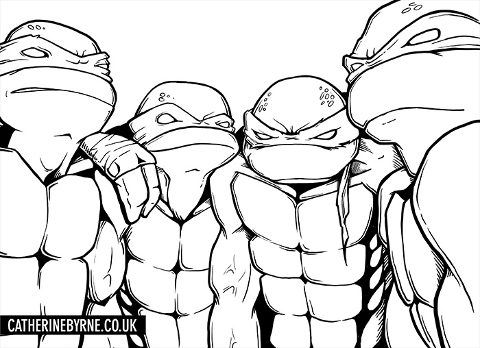 TMNT Group Shot lines by Cat Byrne