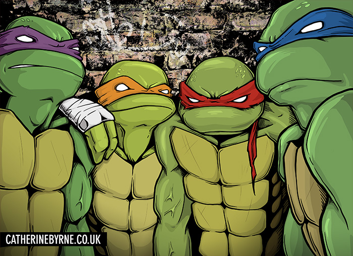 TMNT group shot fan art by Cat Byrne