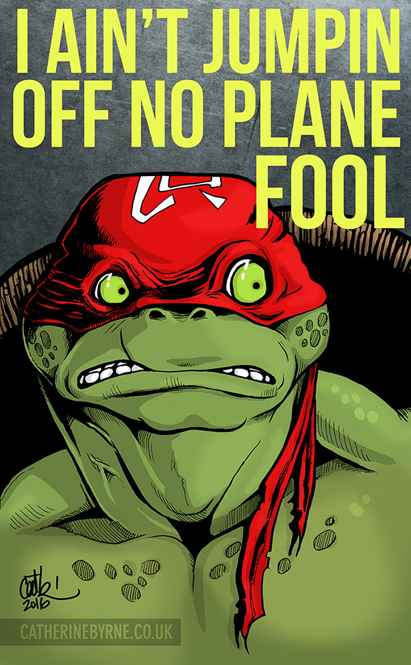 TMNT Raph on a plane by Cat Byrne