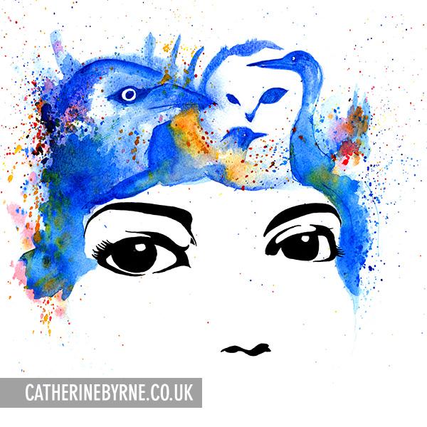 Original art for Mabel Blue Kingdom of Birds by Cat Byrne