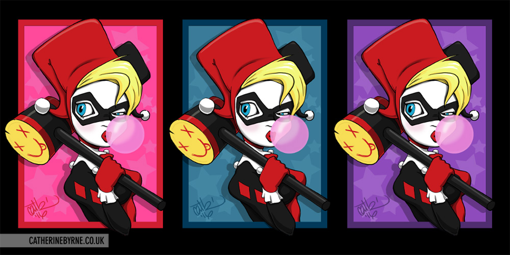 Harley Quinn fan art triptych by Cat Byrne